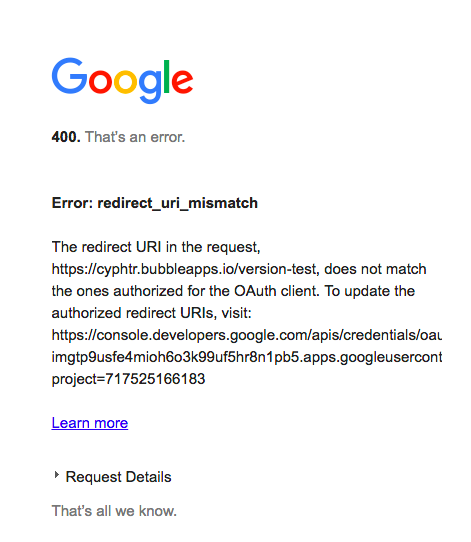 GMAIL API Login error code 400 redirect uri mismatch - Freelance