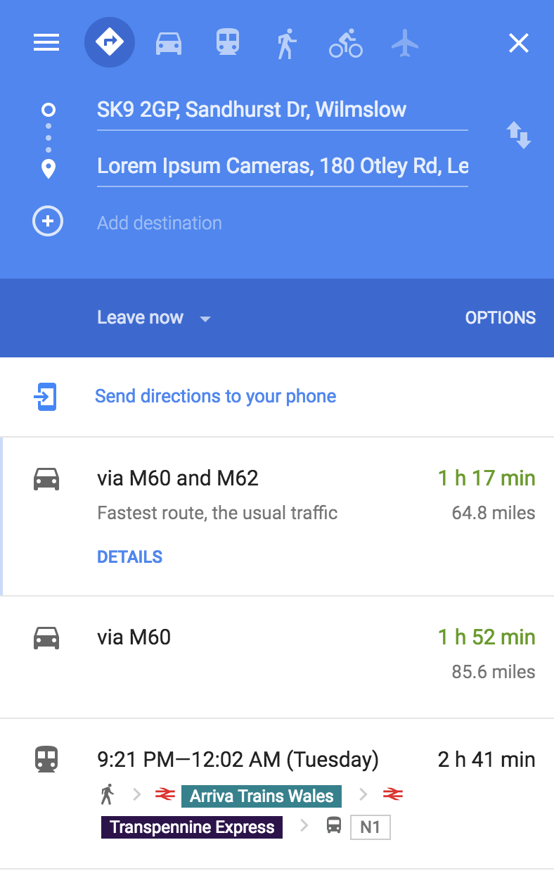 Open Link to Google Maps and Show Transit Tranport - Mobile