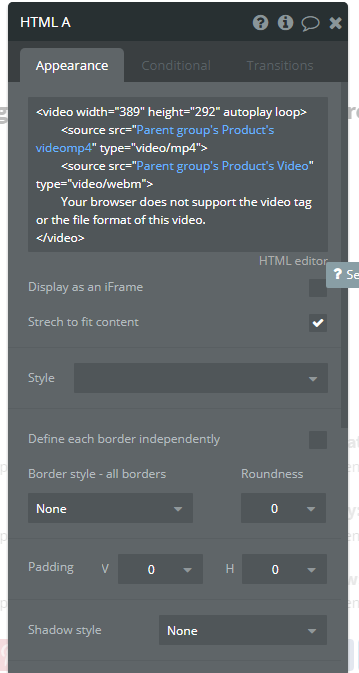 Using the HTML tool to show small html5 videos, but they won