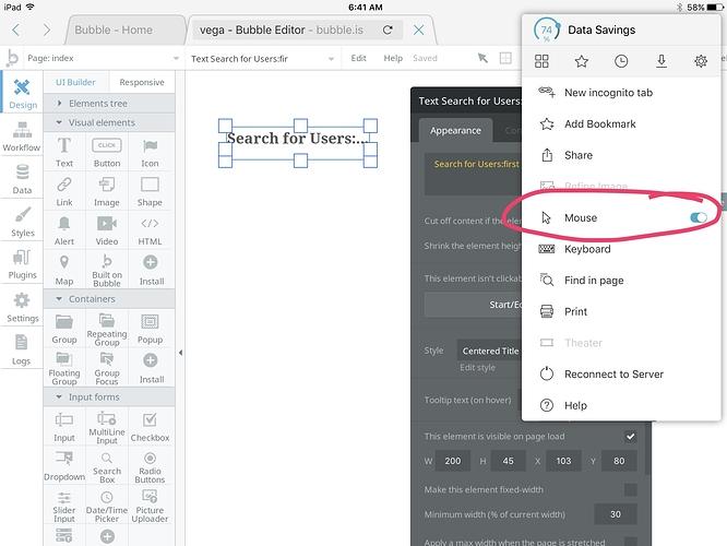 Bubble Development on an iPad - Tips - Bubble Forum