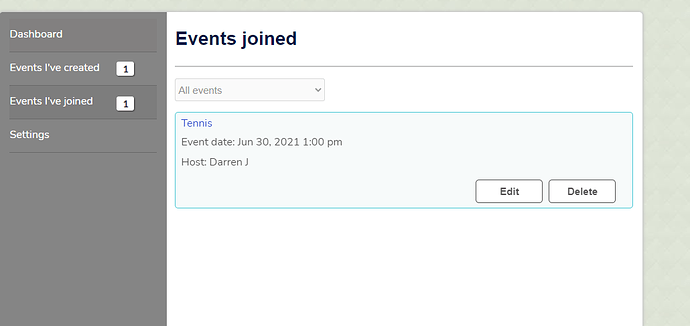 events joined