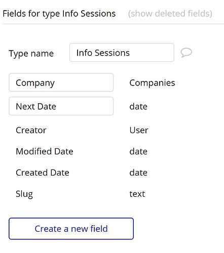 Info Sessions Data Fields