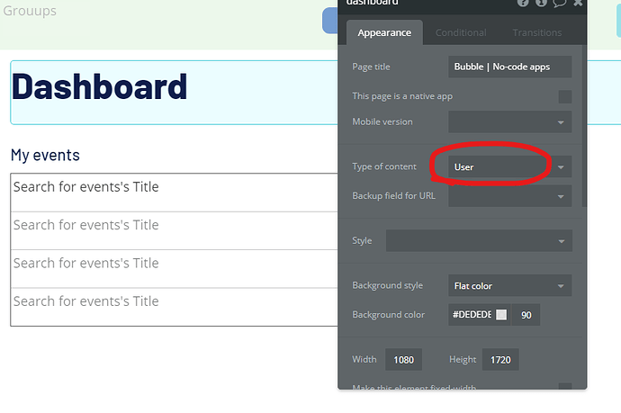 dashboard page set to user