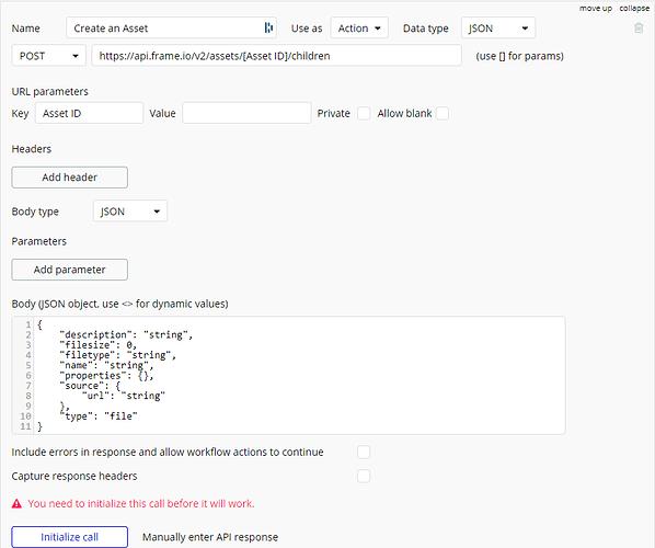 Frame.io Create an Asset API Status code 400