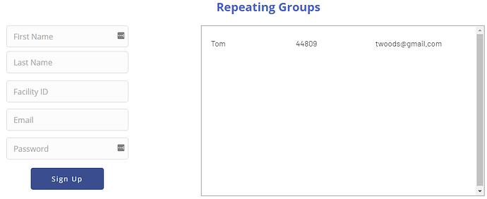 repeating group