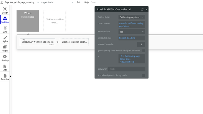 regular workflow tab