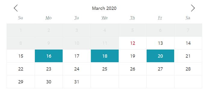 calendar as I would like