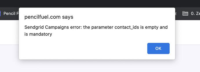 PencilFuel-SendGrid-Error Parameter_ contact_ids