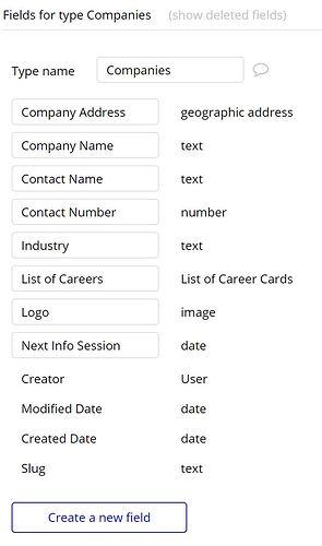 Companies Data Fields