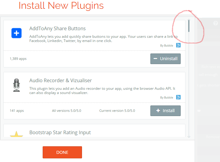 Edit /install plugin scroll down issue - Bugs - Bubble Forum