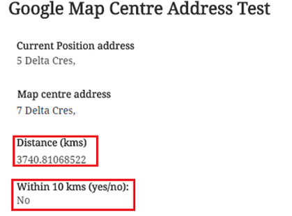 distance between two location gives wrong output - Need ... on