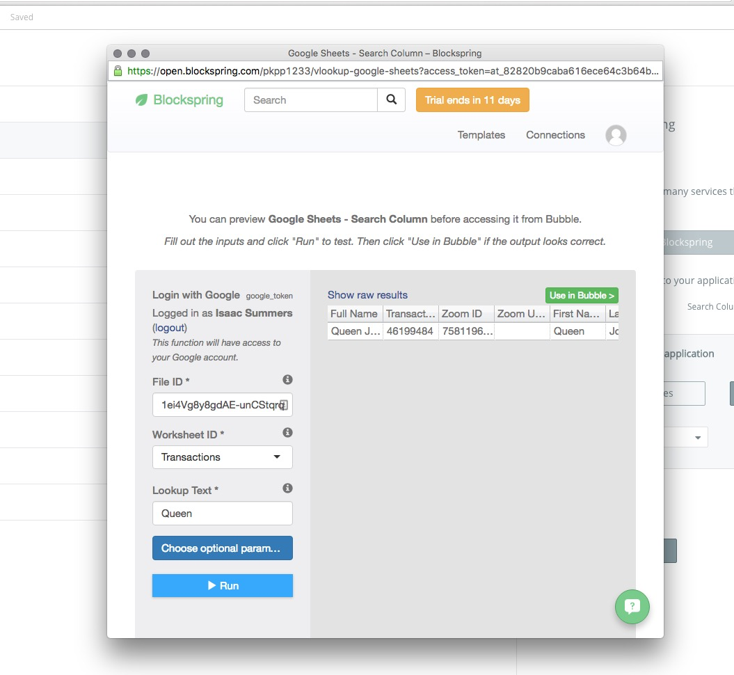 Google Sheets and Blockspring Search Column - Bubble Forum