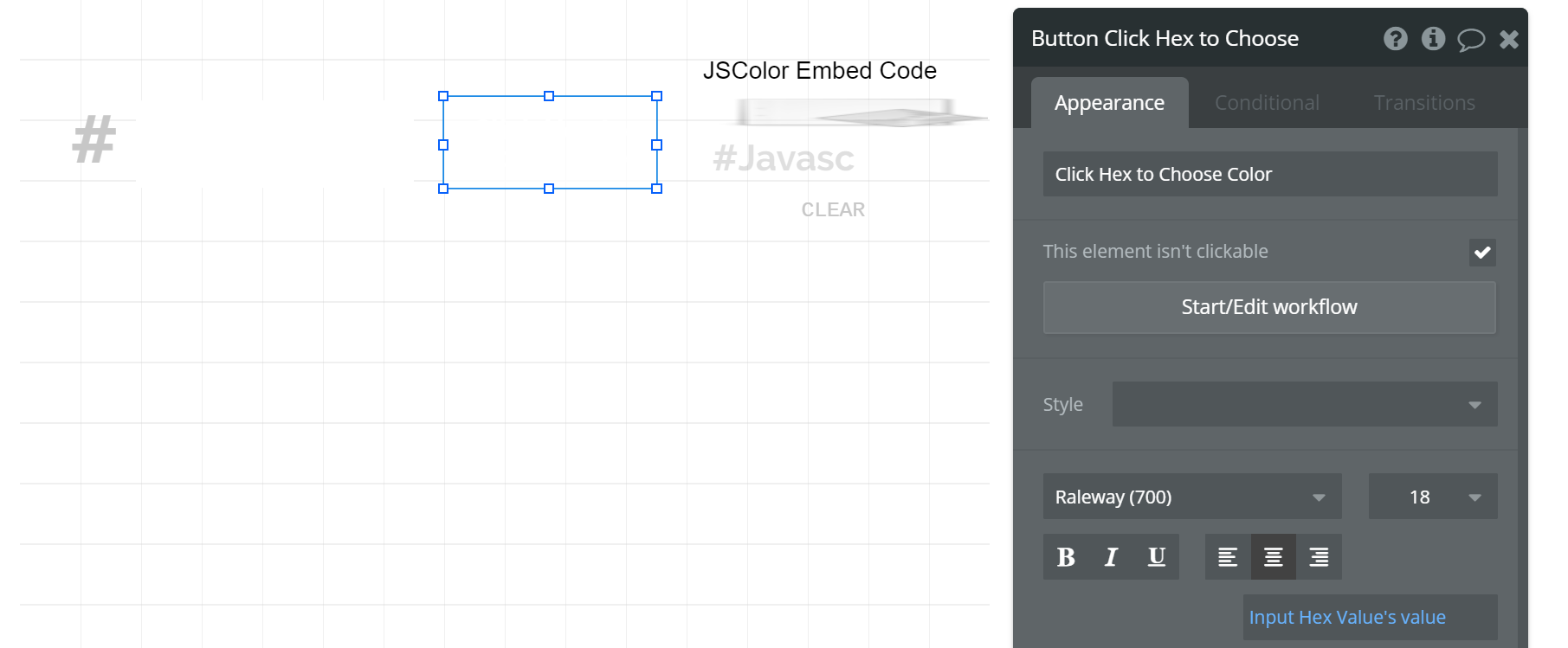 How to create a dynamic color selector and save hex color