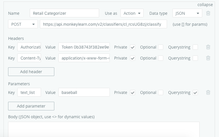 Monkey Learn API works in Postman - not in Bubble - APIs