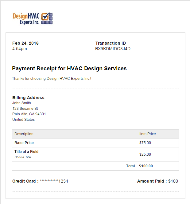 is it possible to send payment receipts after payment need help