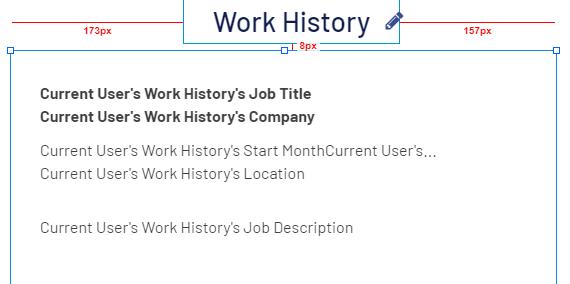 work history display