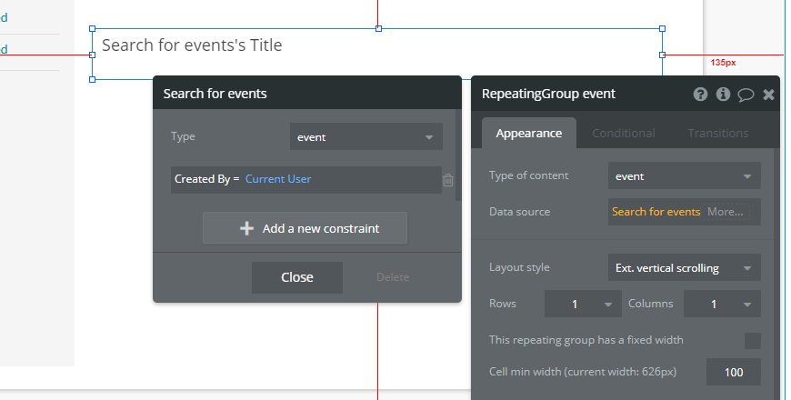 display specific user event