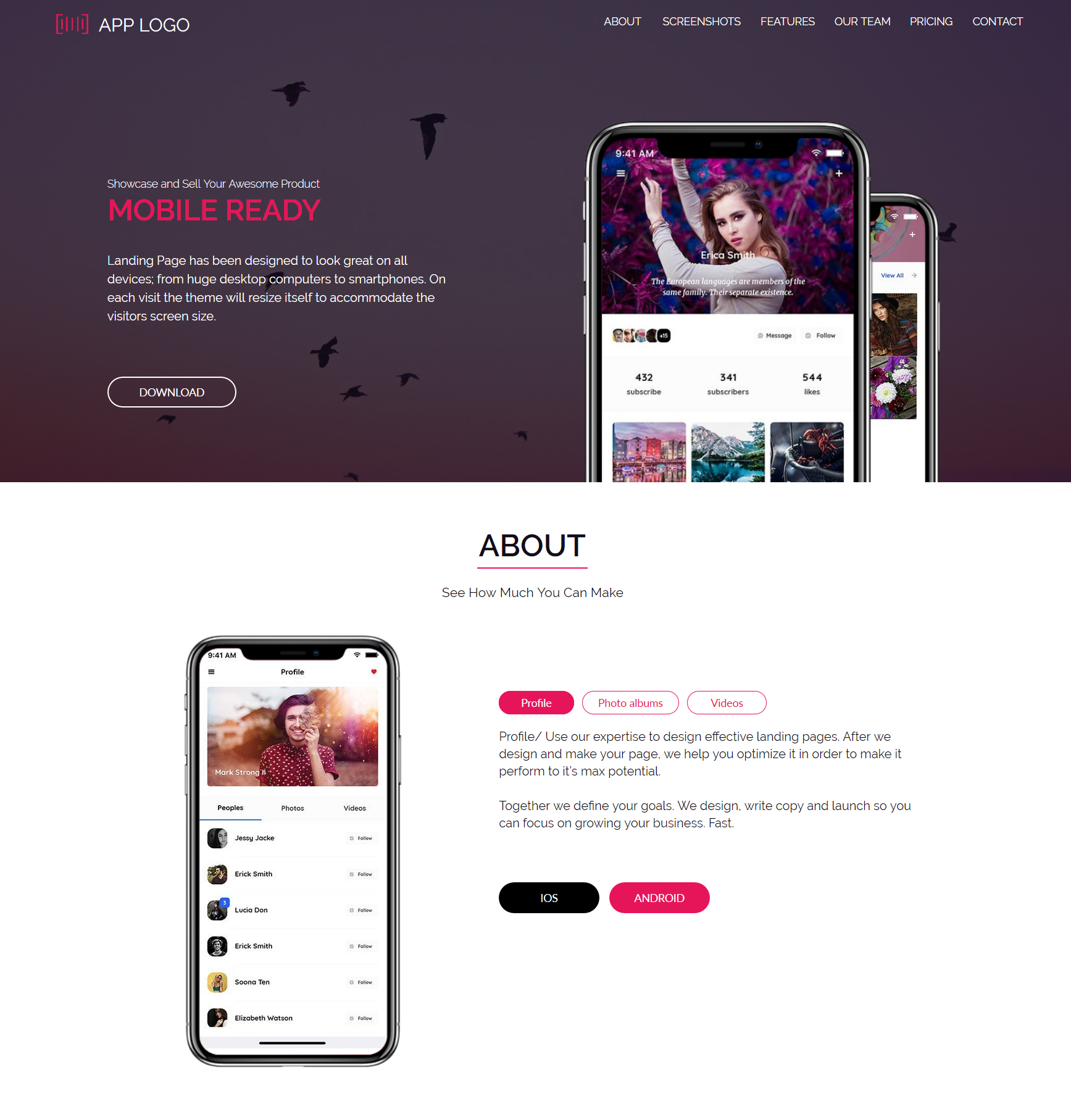 Free Landing Page Template For Your App Presentation Showcase