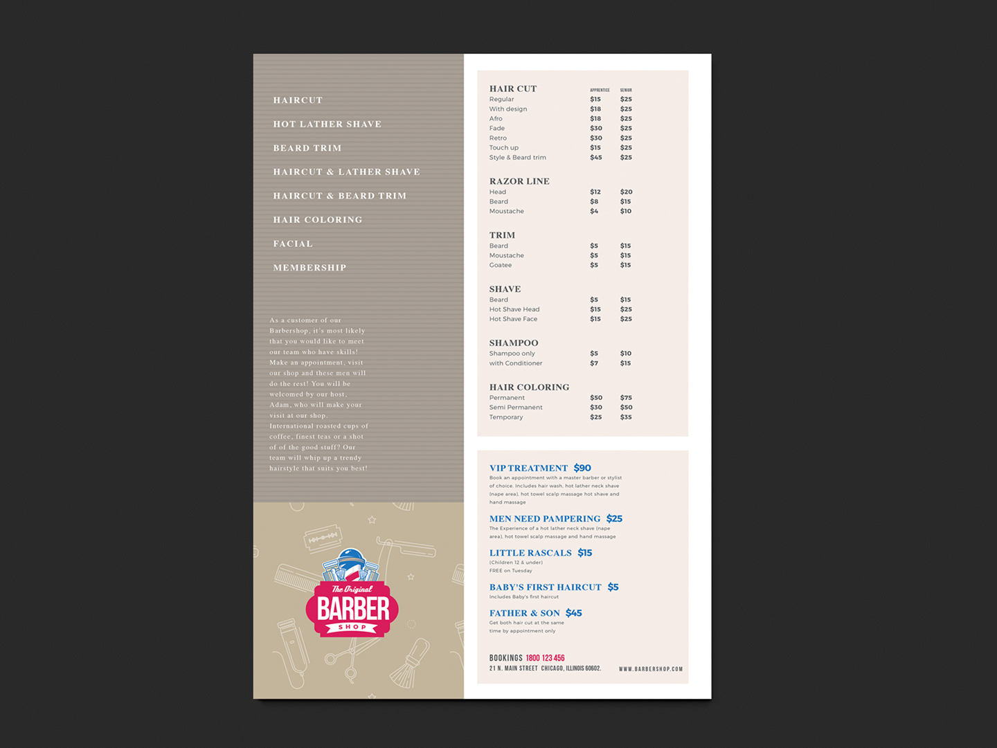 price list design template