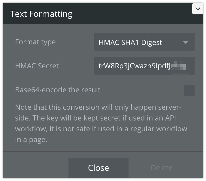Using the SHA1 in an API call - (HMAC Digest computation on the