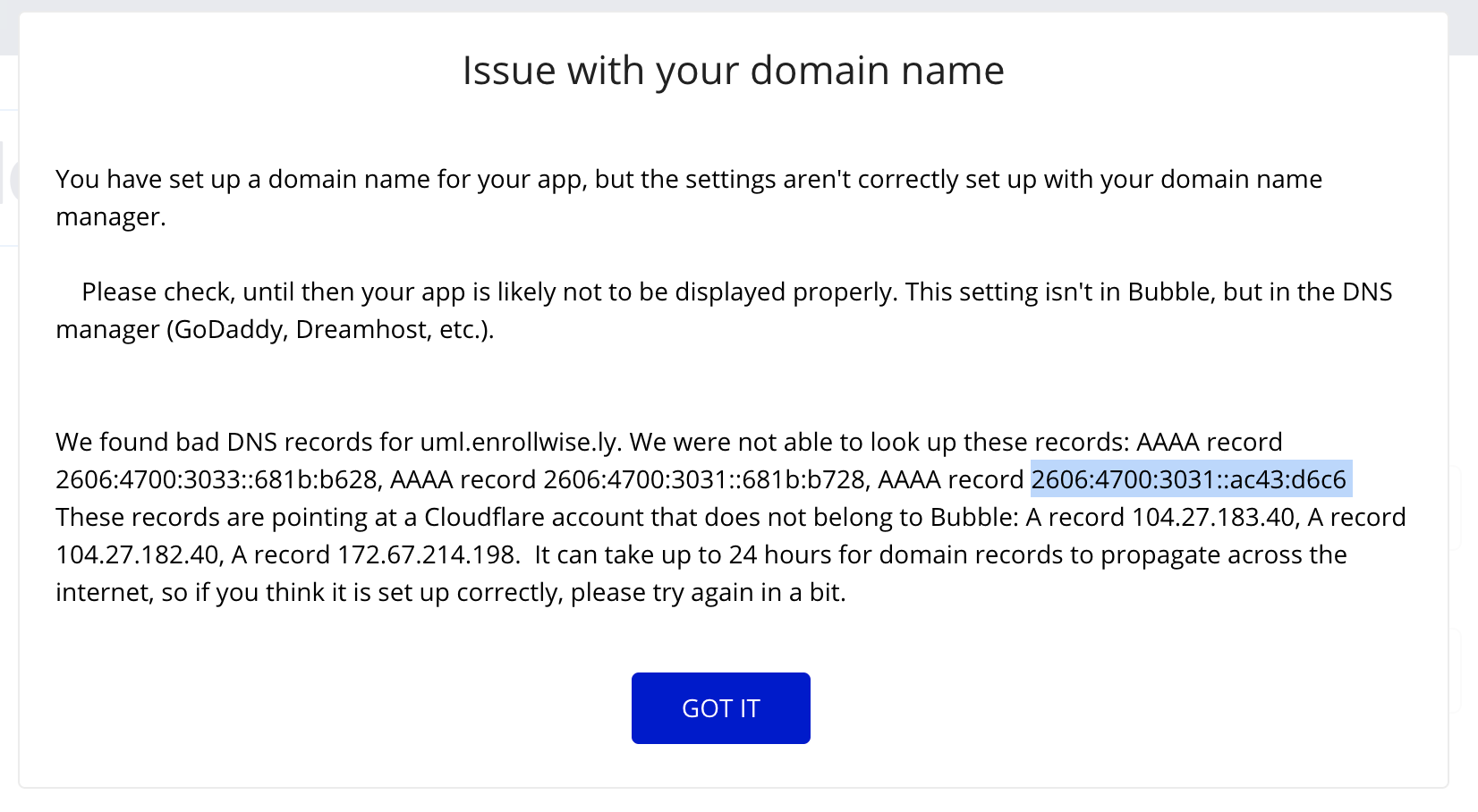 Cloudflare  > Bubble says