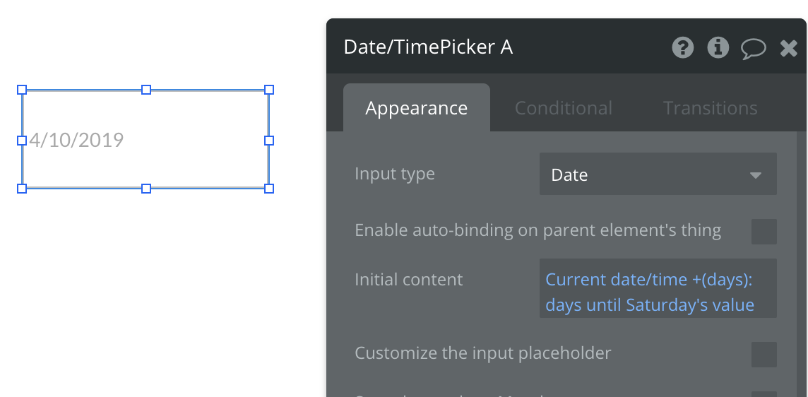 How to Set Date/Time Picker to Saturday of the Current Week