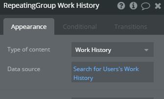 work history set up