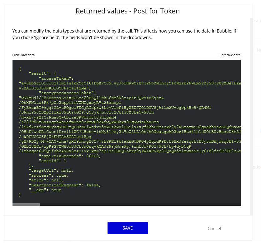 Returned values show raw data