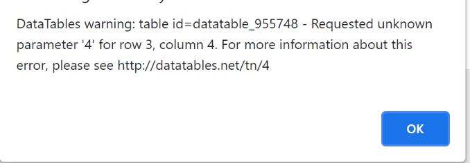 datatables error code - specific cell
