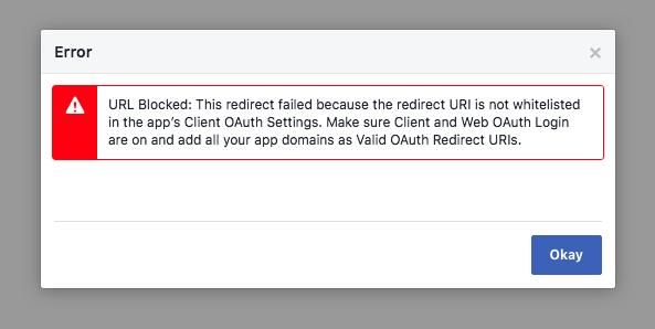 Given Url Is Not Whitelisted In Client Oauth Settings Facebook