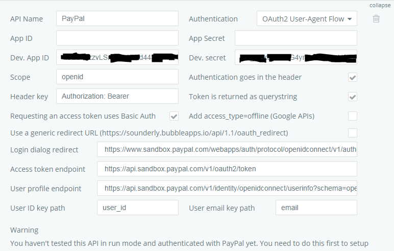 OAuth Selection for PayPal - Need help - Bubble Forum