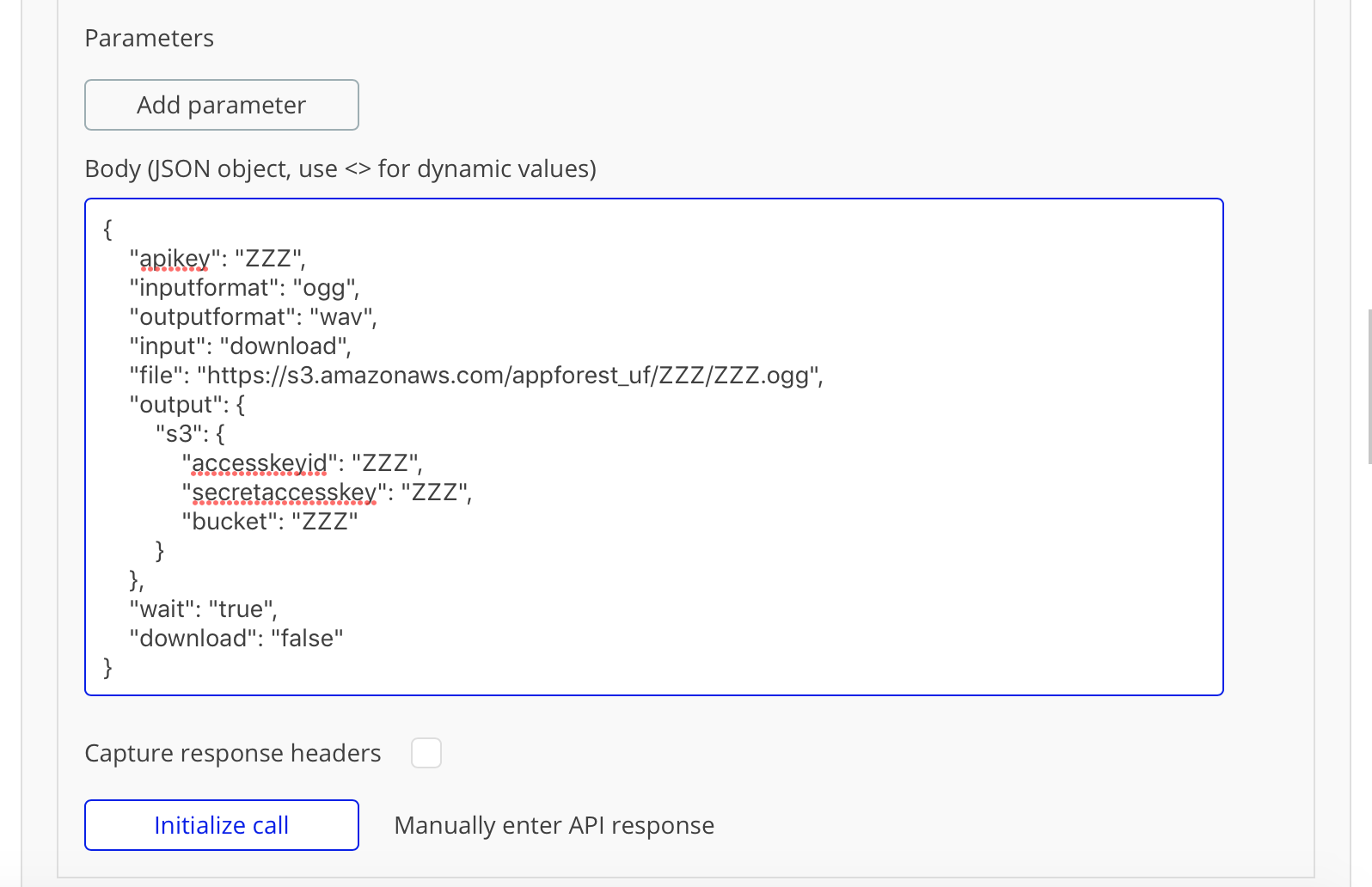 CloudConvert API: Call not working properly - APIs - Bubble